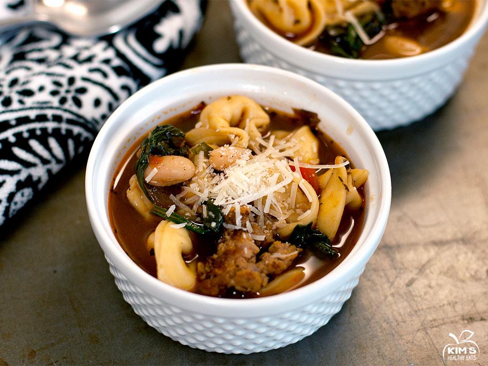 Italian Tortellini Sausage Soup | Kim's Healthy Eats