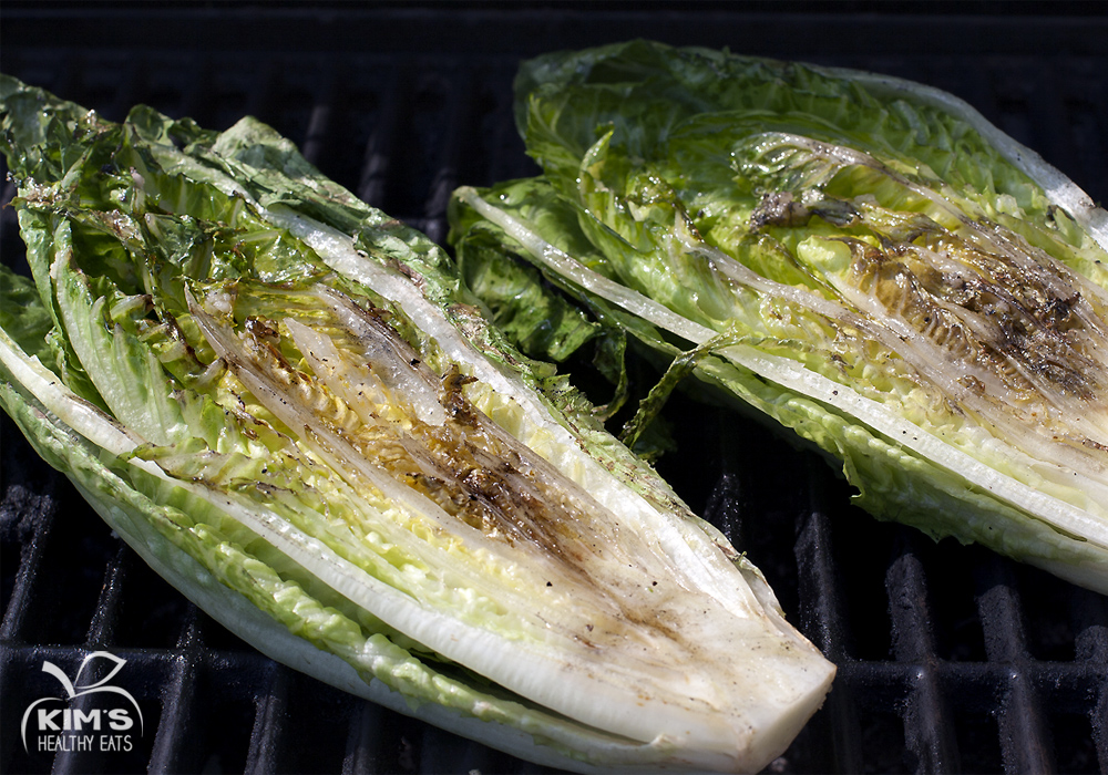 Grilled Romaine with Avocado Lime Dressing