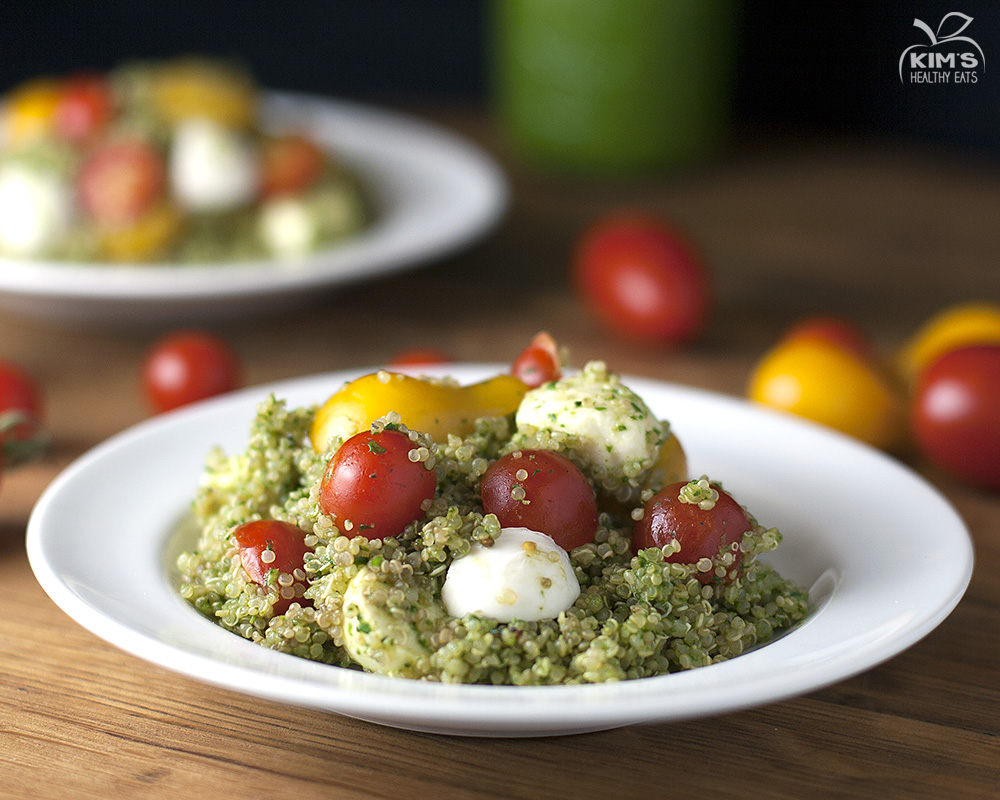 Caprese Quinoa Salad with Spinach Pesto |