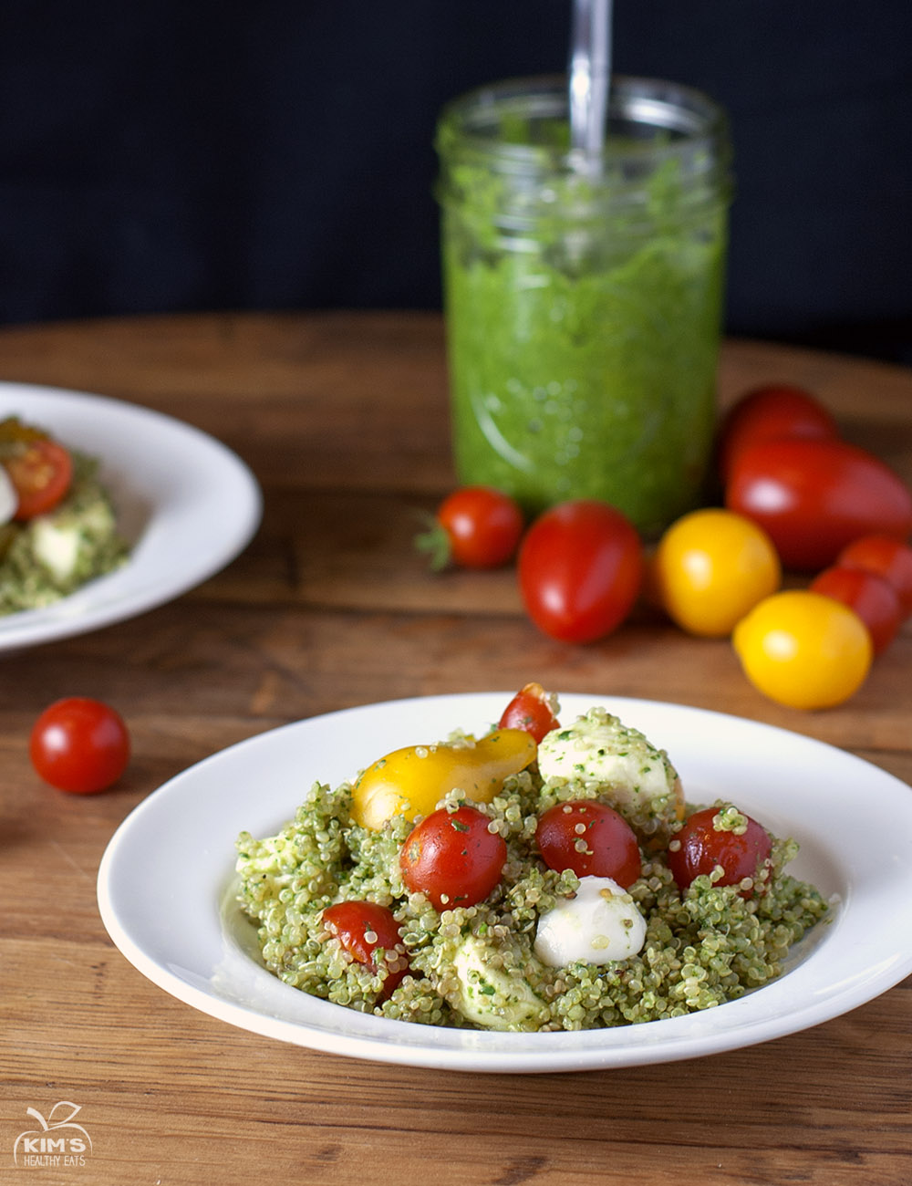 Caprese Quinoa Salad with Spinach Pesto