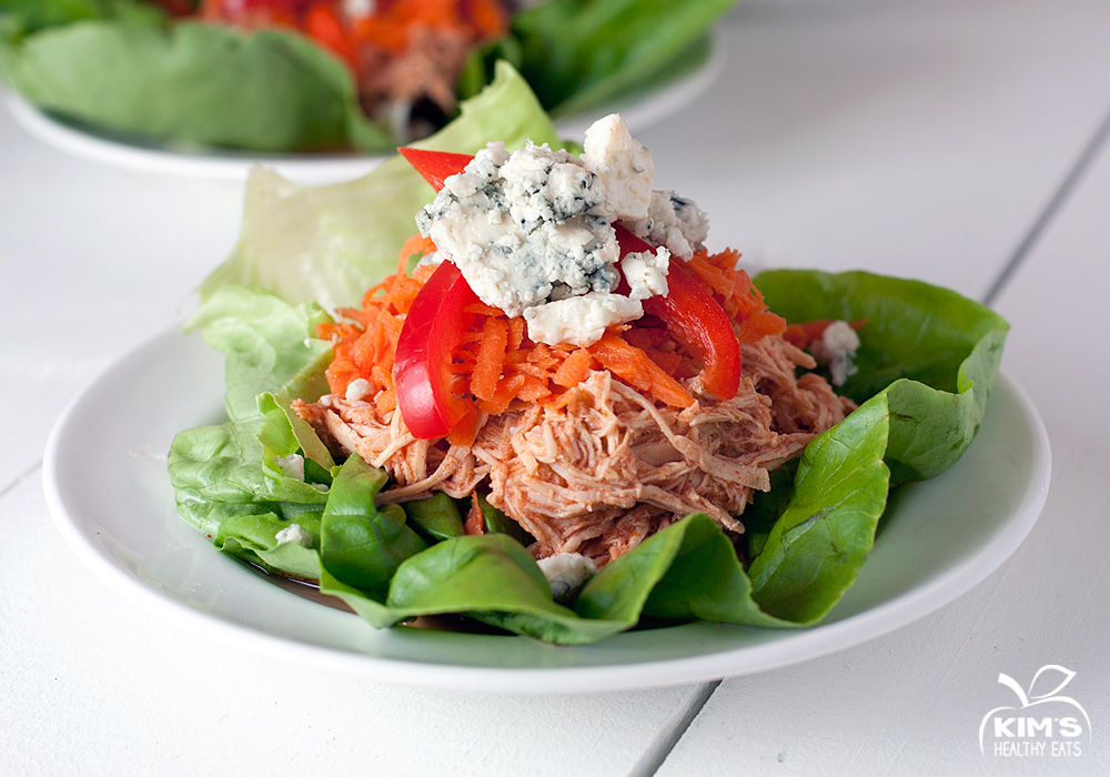 Crock Pot Buffalo Chicken Lettuce Wraps | Kim's Healthy Eats