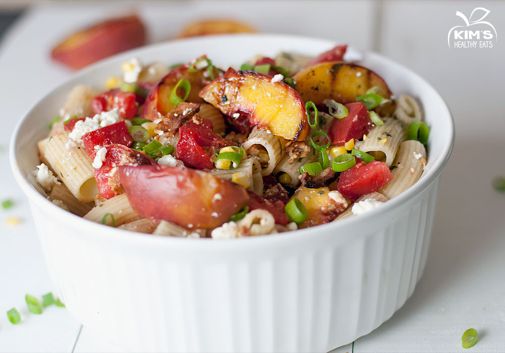 Grilled Peach and Heirloom Tomato Pasta Salad with Basil Vinaigrette