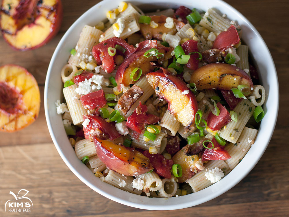 Grilled Peach & Heirloom Tomato Pasta Salad with Basil Vinaigrette ...