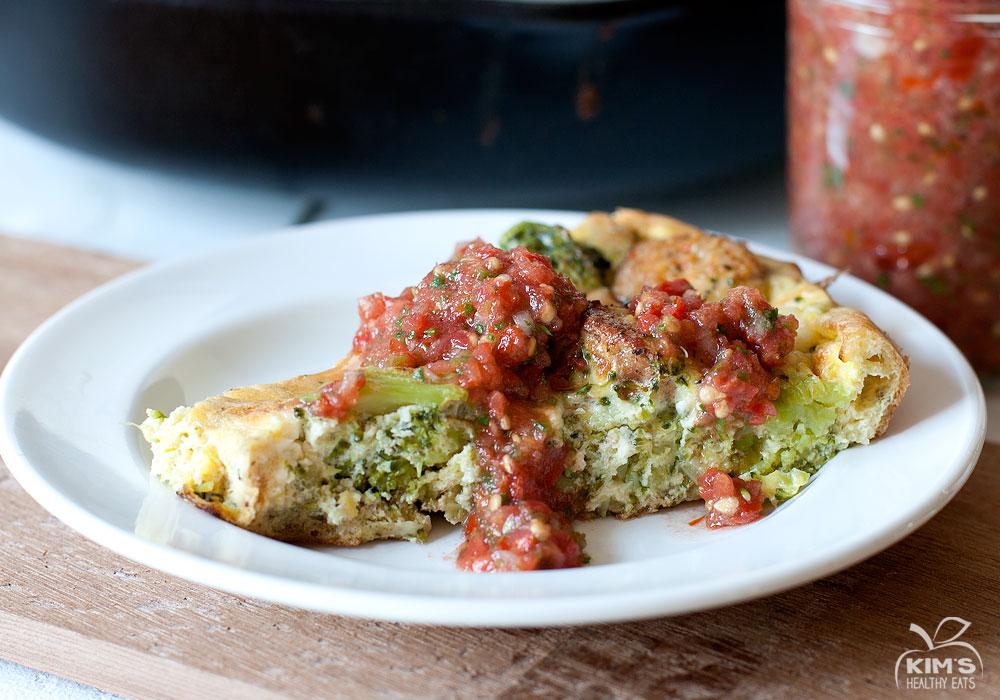 Broccoli Feta and Sausage Frittata
