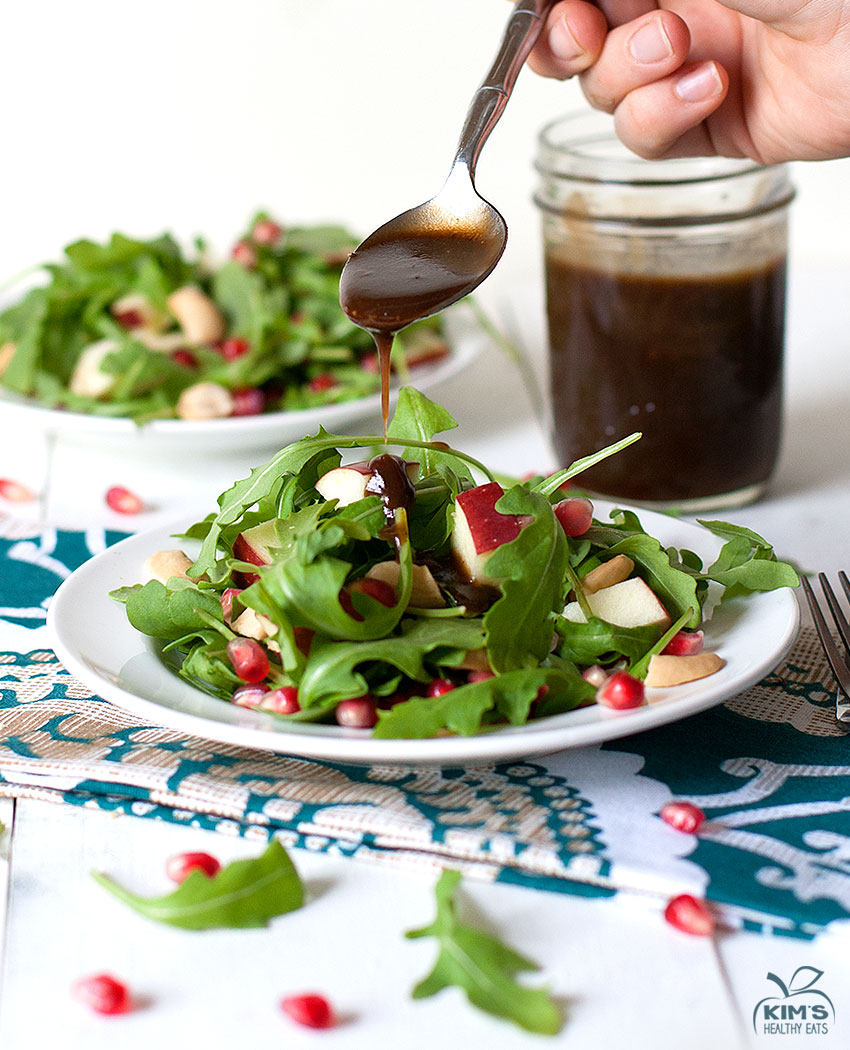 Pomegranate Cashew Arugula Salad with Balsamic Dressing