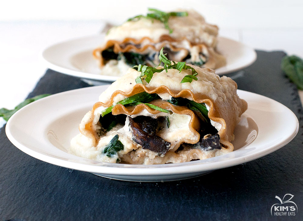 Spinach & Portobello Roll Ups with Creamy Cauliflower Sauce