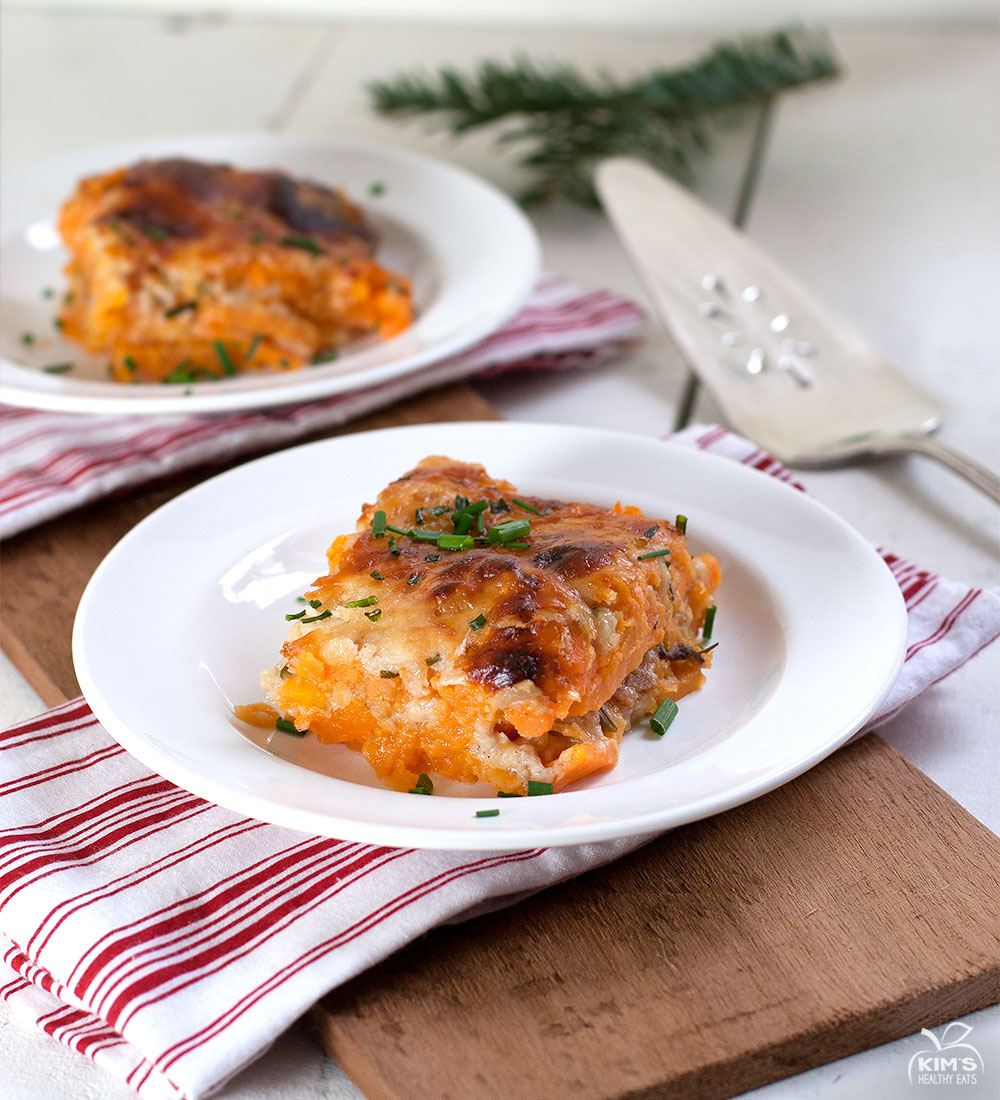 Sweet Potato Bacon Asiago Au Gratin