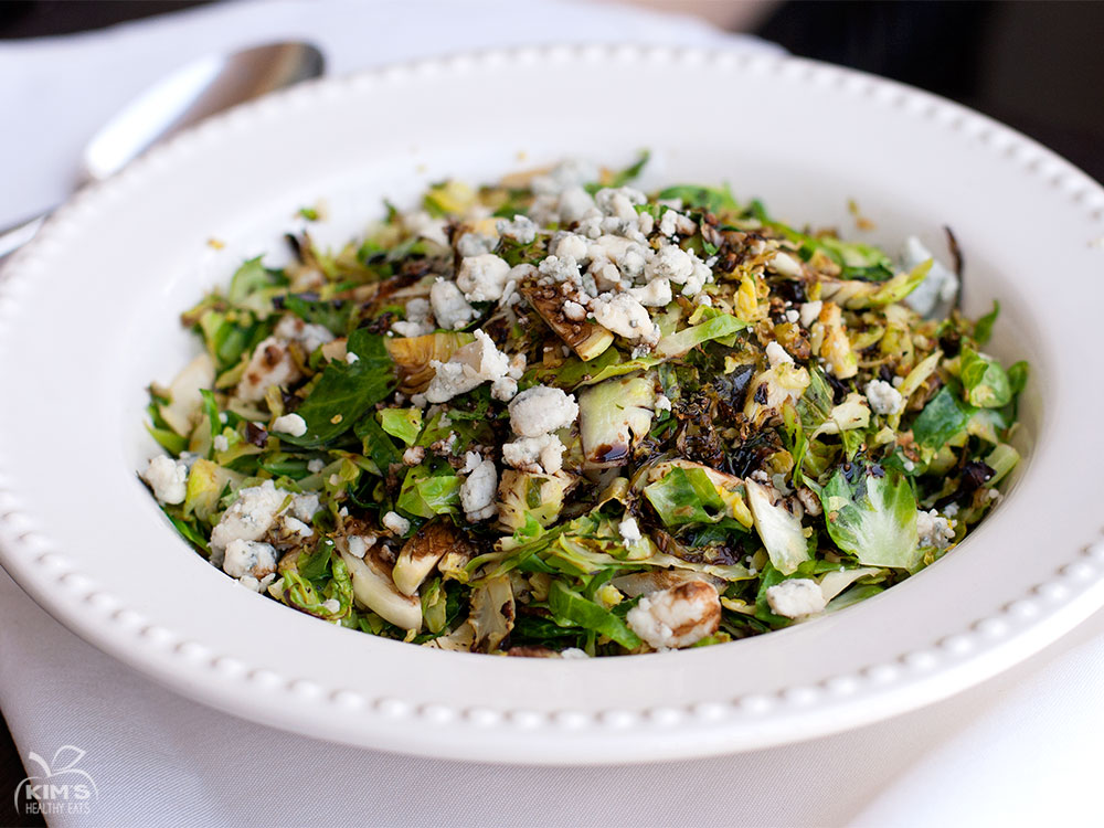 Shredded Brussels Spouts with Balsamic and Gorgonzola