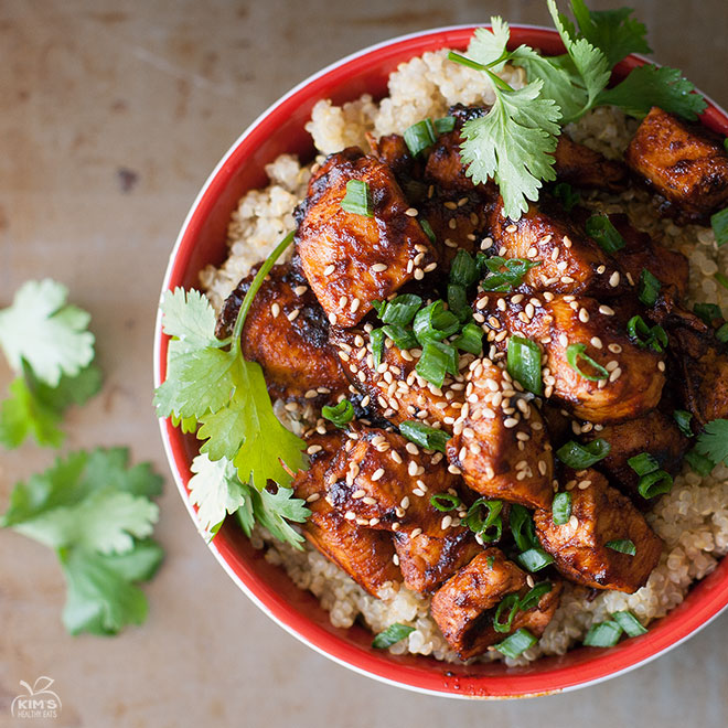 Sriracha Chicken Quinoa Bowl Kims Healthy Eats
