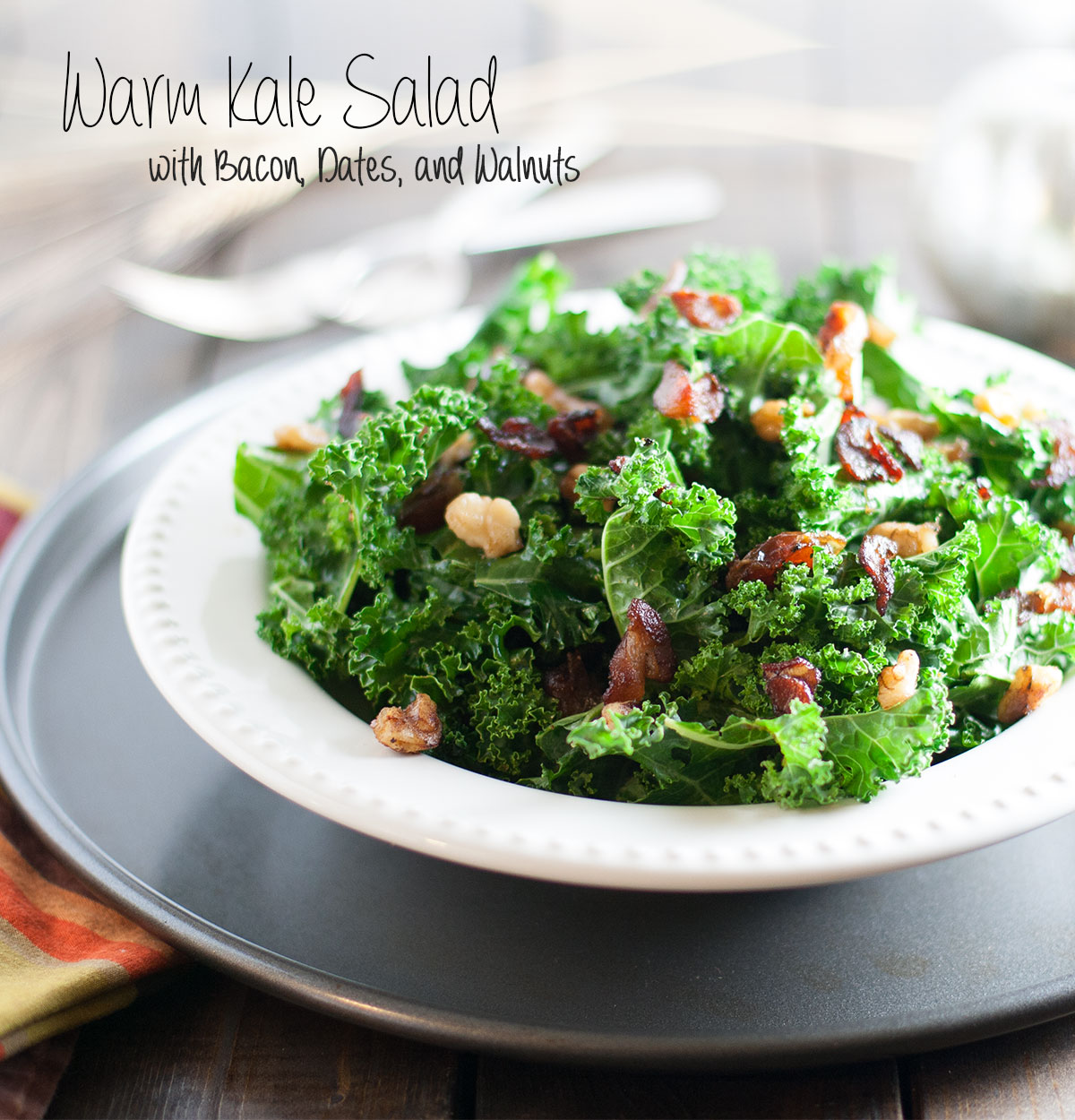 Warm Kale Salad with Bacon Dates and Walnuts