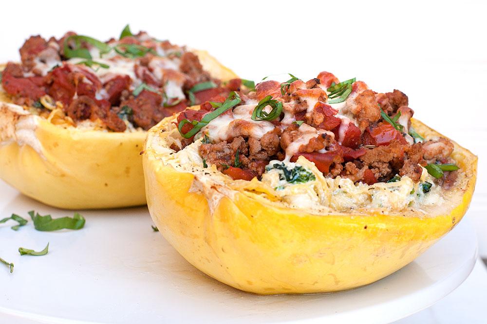 Spagetti Squash Lasagna Boats